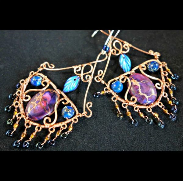 colorful wire wrapped chandelier earrings