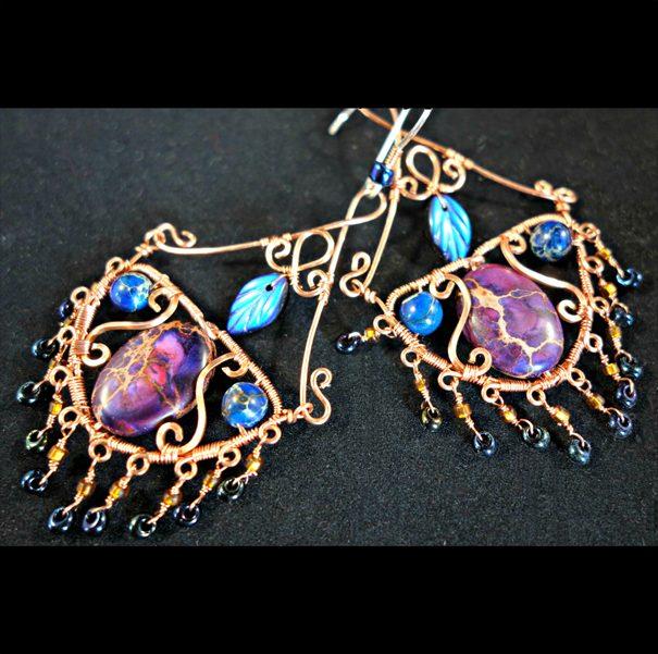 Aella wire wrapped chandelier earrings copy
