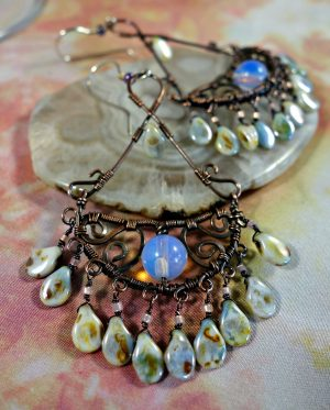 Iintricate filigree wire wrapped chandelier earrings