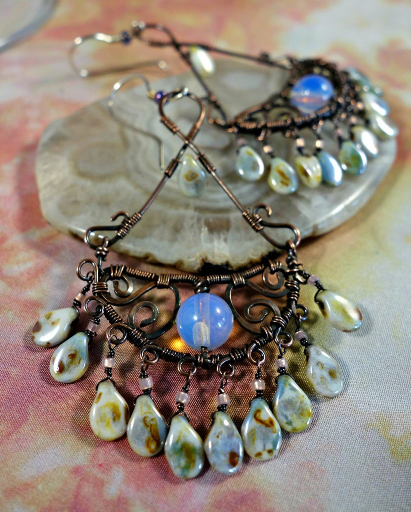 Iintricate filigree wire wrapped chandelier earrings