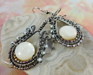 ornate paisley wire wrapped earrings