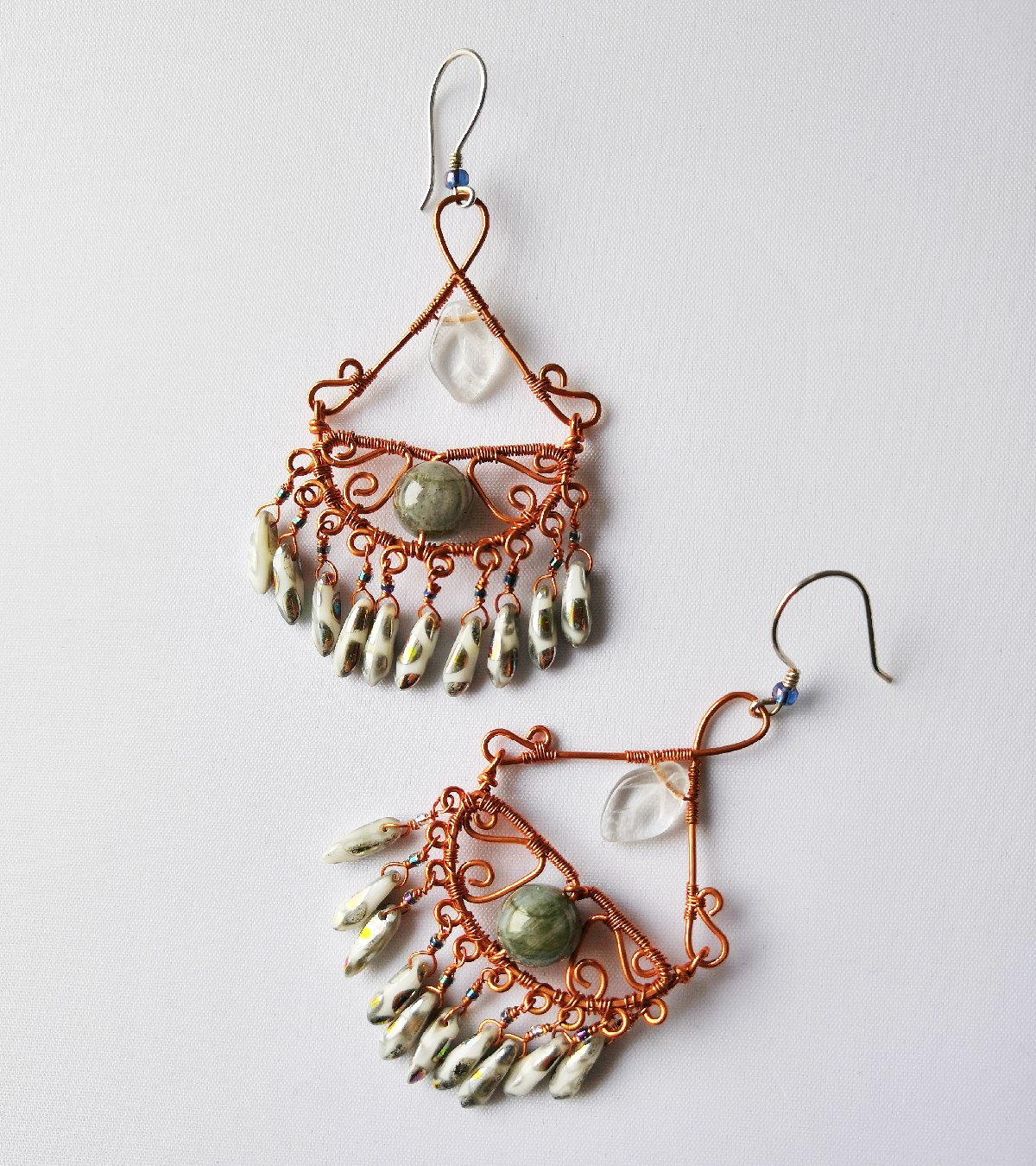 Emmaline Gypsy Sage Wire Wrapped Earrings