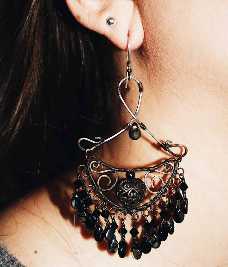 boho large chandelier drop earrings