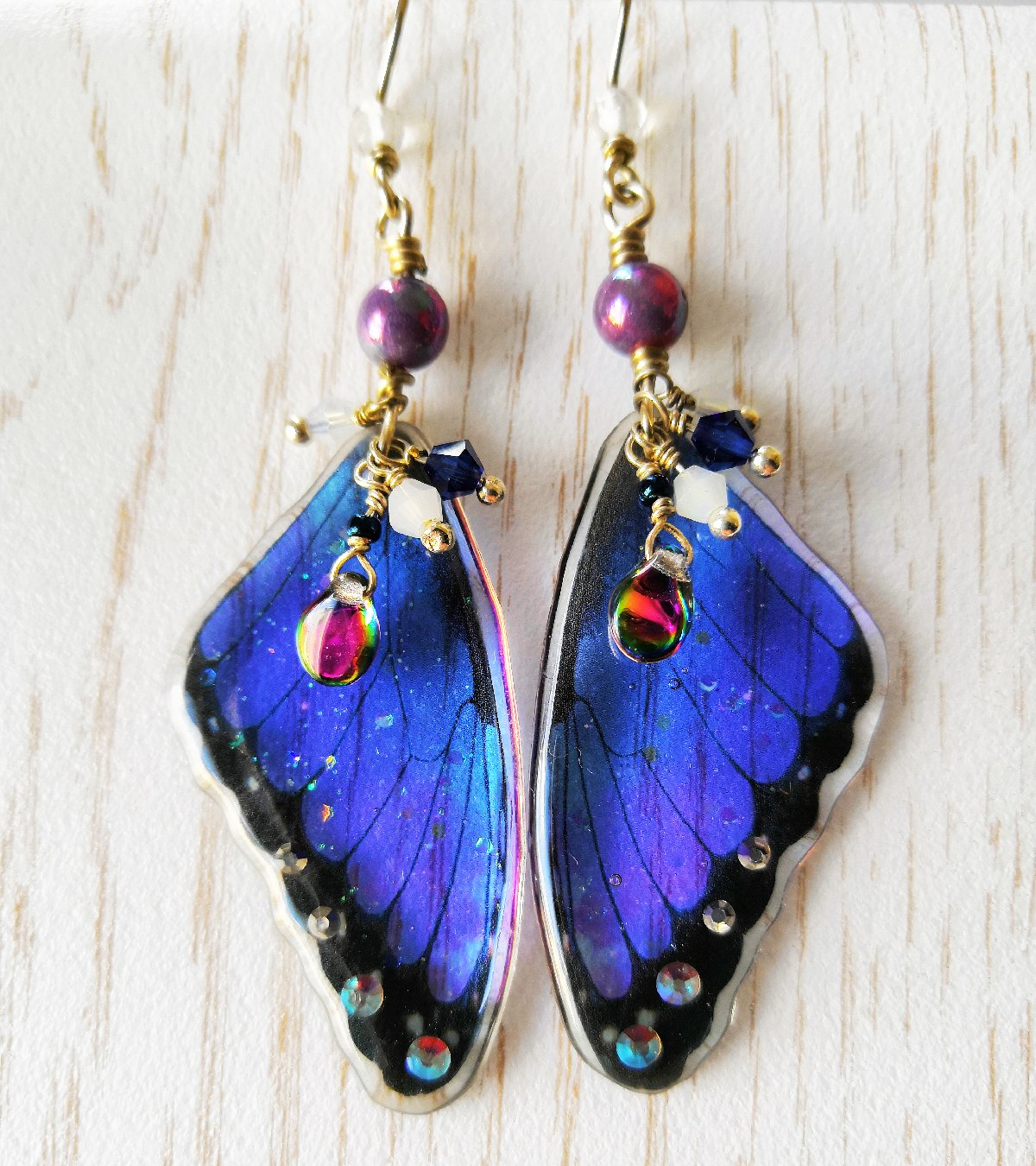 Melusine Morpho Butterfly Blue Earrings