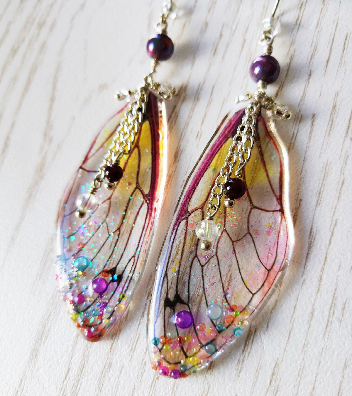 Tiana Pale Resin Wing Earrings