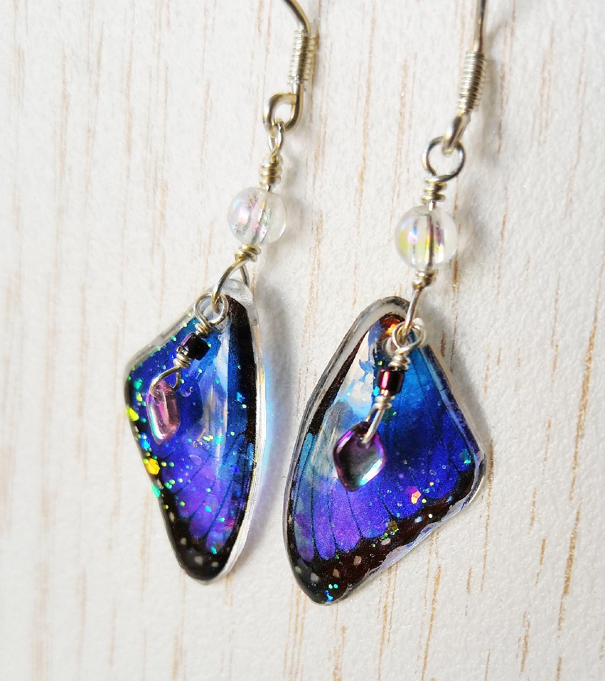 tiny blue morpho earrings