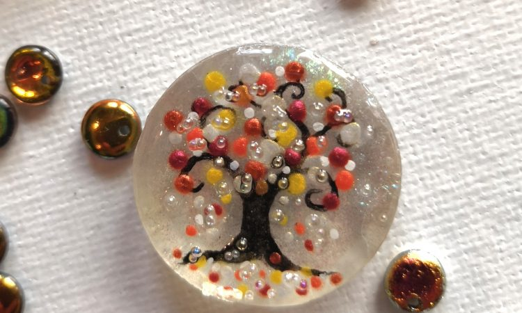 Painted tree in resin